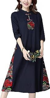 HÖTER Women's Slim Printed High Split Traditional Vintage 3/4 Sleeve Plus Size Qipao Cheongsam Dress