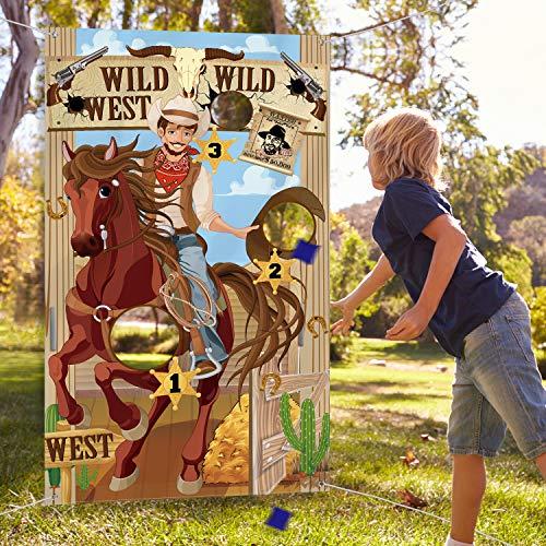 Blulu Western Party Cowboy Werfen Spiele mit 3 Sitzsäcken, Lustiges Western Spiel für Kinder und Erwachsene für Western Themen Aktivitäten Western Cowboy Dekorationen und Zubehör