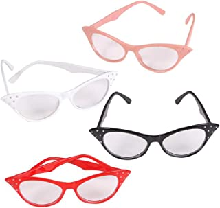 Cat Eye Glasses with Rhinestones - 50's 60's Retro Glasses 4 Pack, 4 4E's Novelty + Bonus Sticker