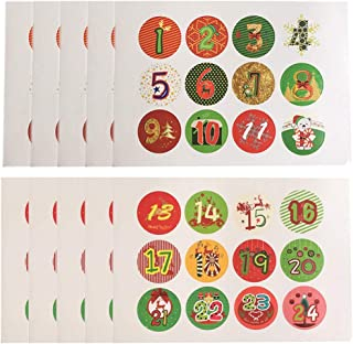 Laideyilan 120Pcs Glittered Christmas Advent Calendar Number Stickers Colored Vintage Labels Stickers DIY Gifts Baking Decoration Xmas Craft Christmas Numbers