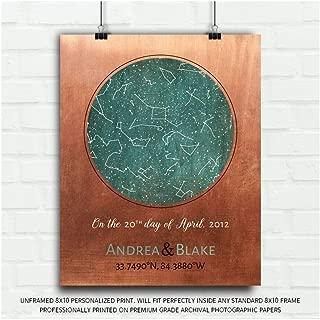 7 Year Anniversary, Copper Gift, Custom Star Map, Constellation Art, Stars Aligned, Night Sky Print, Wedding Gift, Astrology Gift, Star Chart #1737-8x10 Unframed Custom Paper Art Print
