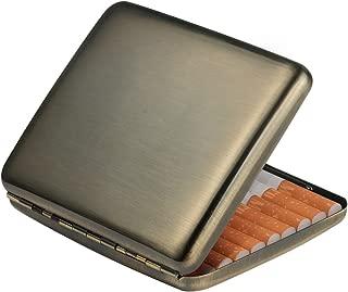 Vintage Brushed Bronze Metal Cigarette Case Box Wallet Credit Card Case as Gift for Men and Women(Brushed Bronze)