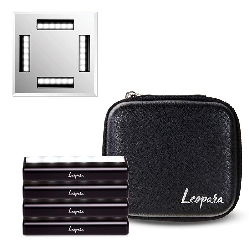 Leopara Makeup Lighting System - Portable Vanity Lights - Professional Lighting for Any Mirror - Travel Friendly & Rechargeable - Onyx Chrome