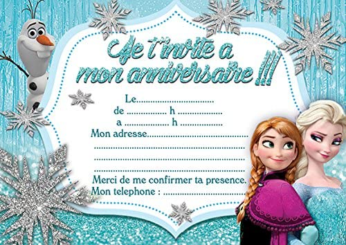 10 Cartes Invitation Anniversaire La Reine Des Neiges Frozen In French Amazon Fr Fournitures De Bureau