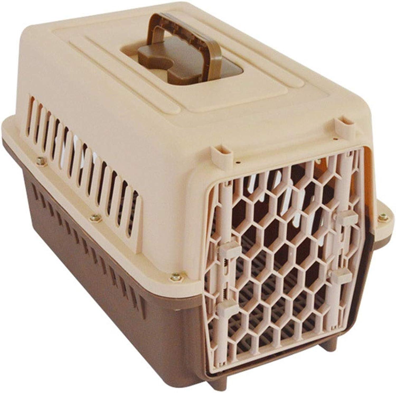 Jlxl Dog Carry Box Pet Transport Carrier Cage Dog Portable Travel Car Plastic Lock Grid Flip Door Pet Supplies