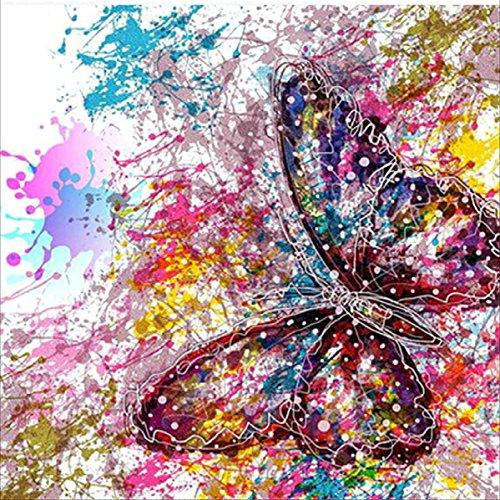 MXJSUA DIY 5D Kits de Pintura de Diamantes Taladro Completo Cristal Redondo Rhinestone Imagen Artesanía para el hogar Decoración de Pared Regalo Mariposa 30x30 cm