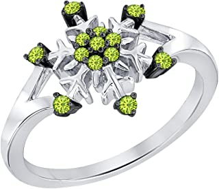 0.28ctw Round Created Peridot 14K White Gold Plated Wedding Frozen Snowflake Ring For Women