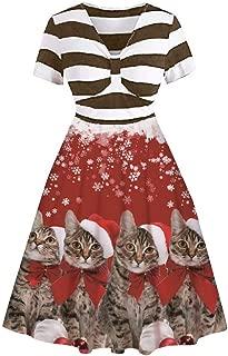 Dunacifa Women's Short Sleeve Stripe Mini Dresses Christmas Snowman Floral Print Retro Party Dress
