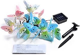 IMAGE Butterfly Solar String Lights Decorative Multi-Color Beautiful Animal Design Light 20 Led for Garden, Lawn, Patio, Wedding, Party, Bedroom, Outdoor Decoration