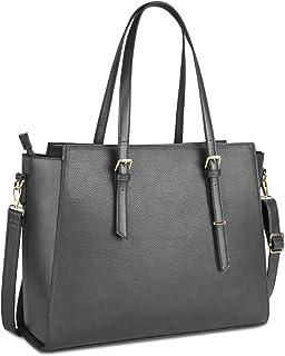 NEWHEY Handtasche Damen Shopper Damen Große Grau Gross Laptop Tasche 15.6 Zoll Elegant Leder Umhängetasche für Büro Arbeit...