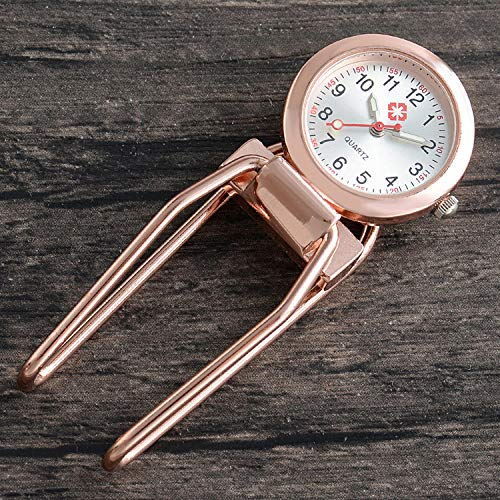 Cxypeng Uhren,Krankenschwester FOB,Luminous Clip Krankenschwestertisch hängende Uhr medizinische Taschenuhr Student Brust-Rose Gold,Pulsuhr Krankenschwester