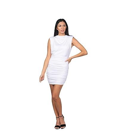 Bebe Sleeveless Rouched Mock Neck Dress