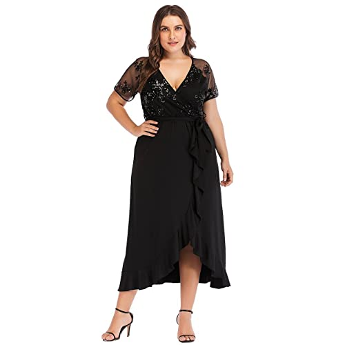 73cb7bec93 ESPRLIA Women s Plus Size V-Neck Stretch Lined Floral Flare Sequin Casual  Party Cocktail Dress