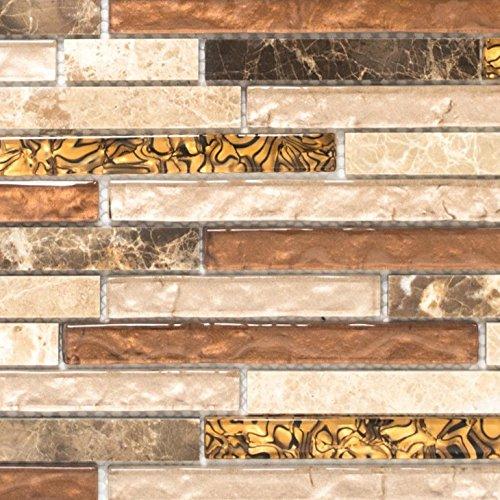 Mosaik Fliese Transluzent beige braun Verbund Glasmosaik Crystal Marmor beige braun für WAND BAD WC DUSCHE KÜCHE FLIESENSPIEGEL THEKENVERKLEIDUNG BADEWANNENVERKLEIDUNG Mosaikmatte Mosaikplatte