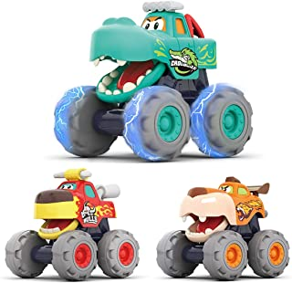 HOLA Toy Cars for 1 2 3 Year Old Boys, 3 Pack Monster Truck Toy Set - Bull Truck, Leopard Truck, Crocodile Trucks, Frictio...