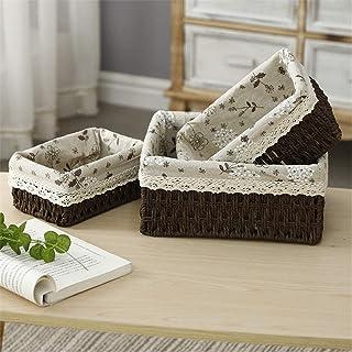 KHFJ Panier de Rangement Papier Weave de Stockage Paniers 3 pièces à la Main, décoration Stockage Bins Paniers décoratifs ...