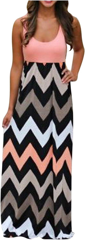 Kaitobe Dresses for Women Tropical Print Halter Backless Maxi Dress Sexy Sleeveless Beach Dress Casual Summer Boho Dress