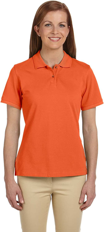 Harriton Ladies' 6 oz. Ringspun Cotton Pique Short-Sleeve Polo, Team Orange, M