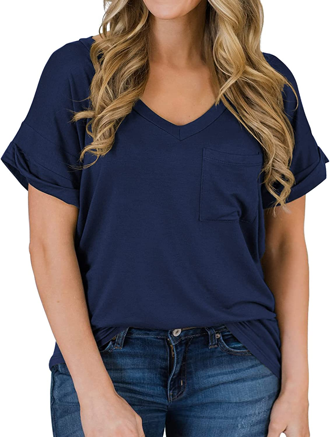 POSESHE specialty shop Women's Plus Size Casual Sleeve Tops Short V-Neck Shirts Lowest price challenge