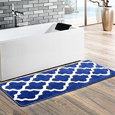 Uphome Moroccan Patten Extra Long Bathroom Rug, Microfiber Washable Non-Slip Soft Absorbent Decorative Bath Mats Runner Floor Mat Carpet (18  W x 48  L, Navy)