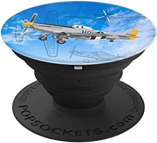 P-51 Mustang WWII Fighter Blueprint Aviation Airplane PopSockets Grip and Stand for Phones and Tablets