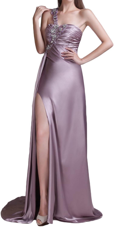 DKBridal One Shoulder Crystals Formal Prom Evening Dresses Long Bridal Bridesmaid Gowns with Slit