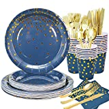 175pcs Royal Blue Gold Dinnerware Party Set Disposable Navy Blue & Gold Dots Party Plates-Include 9' Paper Dinner Plates,7' Dessert Plates,Cups,Napkins,Knife,Fork,Spoon for Birthday,Baby Shower Party