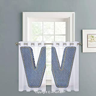 AmorFash Sheer Curtains for Kitchen Window Drapes with Grommet Top for Small Windows,W42 x L36-Inch,Letter W Symmetrical Latin Letter Capital W with Blue Jean Pattern Typography Design Print