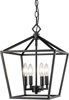 Millennium 3234-MB Transitional Four Light Pendant from Corona Collection Finish, Matte Black