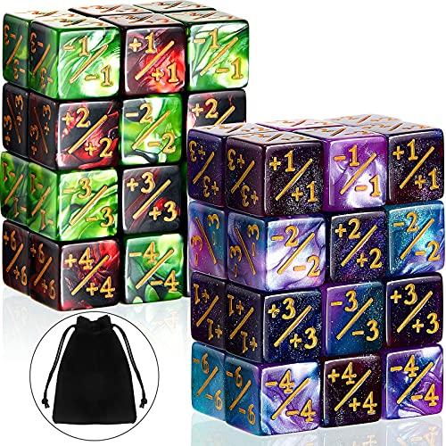 48 Pièces Dés de Compteurs Dés de Jeton Dés D6 Dés de Fidélité Cube avec 2 Sacs de Rangement Compatible avec MTG, CCG, Accessoire de Jeu de Cartes, 4 Styles