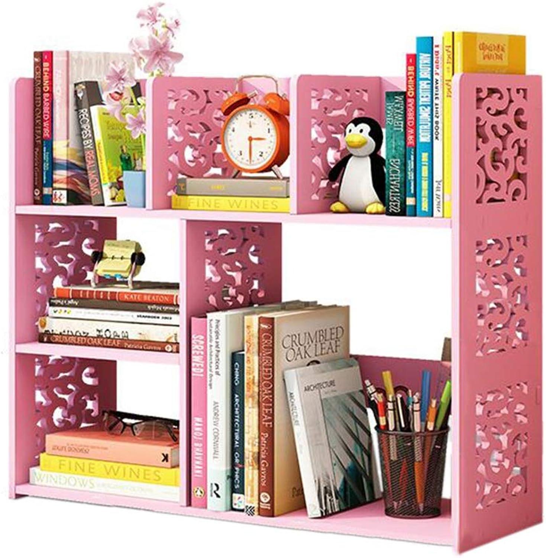 JCAFA Shelves Carved Book Shelf Computer Desk Desktop Shelf Student Bookcase Office, 3 colors (color   Pink)