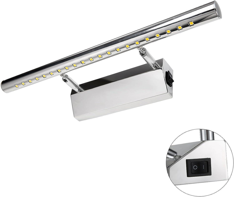 Spiegel Frontleuchte Lampe LED Make-up Spiegel Licht Badezimmer Bild Display Wandleuchte Frontleuchte Edelstahl + Acryl Mit Schalter 180 ° Einstellbarer Winkel (Farbe   7W 55cm Weiß light)