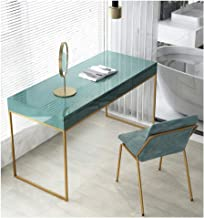 Nordic Solid Wood Wrought Iron Dressing Table with Drawers Home Multifunctional Backrest Table and Chair Combination Bedro...