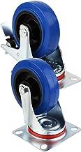 Tamkyo 2 stuks stuurwielen stofbescherming rubber hoog vermogen wielen met 360 graden dek plaat (4 inch met rem, blauw)