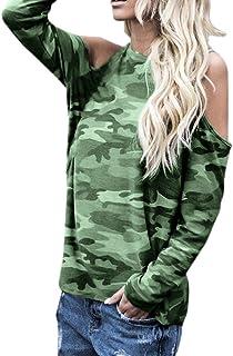 bd82117553b07 SANFASHION T Shirt Épaule Dénudé Tee Blouse Florale Haut Camouflage  Militaire Femme Manche Longue Tops Sport