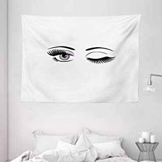 Eyelash Tapestry, Cartoon Style Dramatic Woman Eyes with Long Lashes Winking Flirting Gesture, Wall Hanging for Bedroom Li...