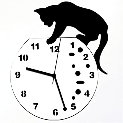 Shuangklei Unique Cat Mirror Silver Wall Clock Modern Design Home Decor Watch Wall Sticker