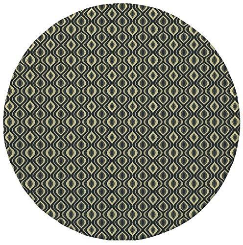 Rutschfreies Gummi-Rundmaus-Pad geometrische ethnisch gewellte vertikale vertikale altmodische Zierfliesen Boho Design Dekorativ Anthrazit Hellgelb 7.9