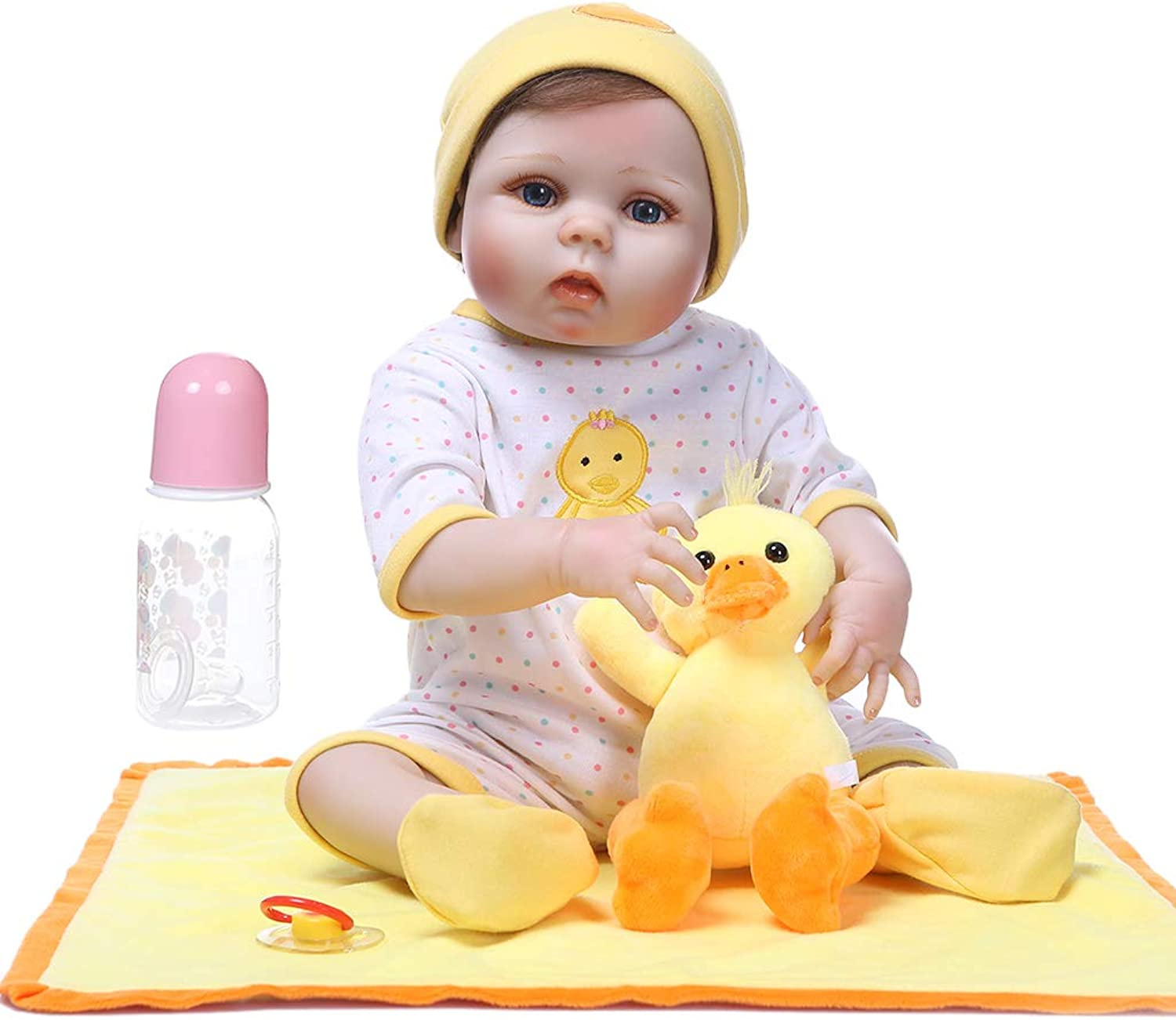 LuohuiFang 22'' Lifelike Handmade Reborn Doll,Realistic Soft Full Silicone Vinyl Newborn Babies Toy& Girl Princess Clothes Duck Pacifier