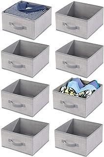 mDesign boîte de Rangement en Tissu (Lot de 8) – Panier de Rangement pour Le Dressing – boîte en Tissu avec poignée et Lar...