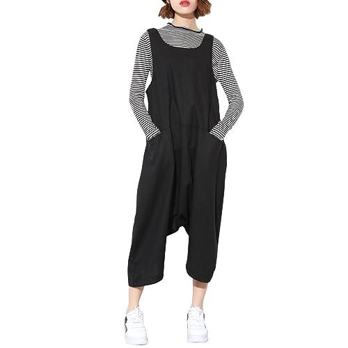 ed0c7f73eb6 ELLAZHU Women Black Plus Size Loose Drop Crotch Jumpsuit GY1179 A