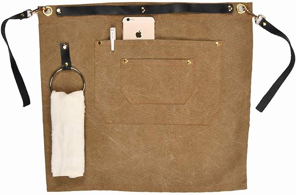 TUYU Delantal para herramientas de alta resistencia, lona encerada con 2 bolsillos, delantal de soldadura de cuero ajustable para hombres y mujeres TYDWQ92