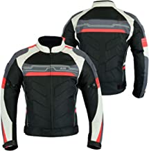 MOTORCYCLE ARMOURED HIGH PROTECTION CORDURA WATERPROOF JACKET BLACK/WHITE/RED ARMOUR CJ-9494 (L)