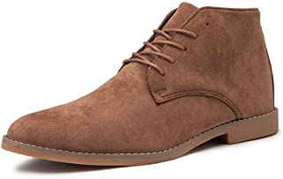 Ankle Boots For Men Highschool Top Chukka Shoes Lace Up Outdoor Casual Suede Upper Retro Flavourless Non-slip Round Toe Rubber Sole Men's Fashion (Color : Brown, Size : 45 EU)