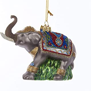 Kurt-Adler Glass Ornament with S-Hook and Gift Box, Animal Collection (Fancy Elephant, NB1206)
