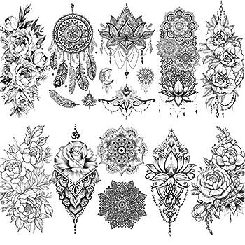 VANTATY 10 Sheets Beautiful Indian Black Henna Temporary Tattoos For Women Mandala Flower DreamCatcher Tattoo Stickers For Girls Body Art Arm Drawings Lace Fake Jewels Tatoo Pendants