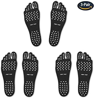 Barefoot Adhesive Beach Foot Pads, Invisible Shoes for Water, Barefoot Socks, Stick on Feet Soles with Waterproof Anti-Slip Silicone Footing Pad for Surfing Yoga Swimming