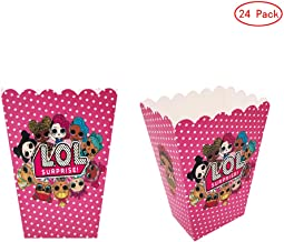 WEIERDING 24 Pcs LOL Party Popcorn Boxes LOL Party Supplies Favors Candy Container for Birthday Theater Themed Parties Movie Nights Carnivals