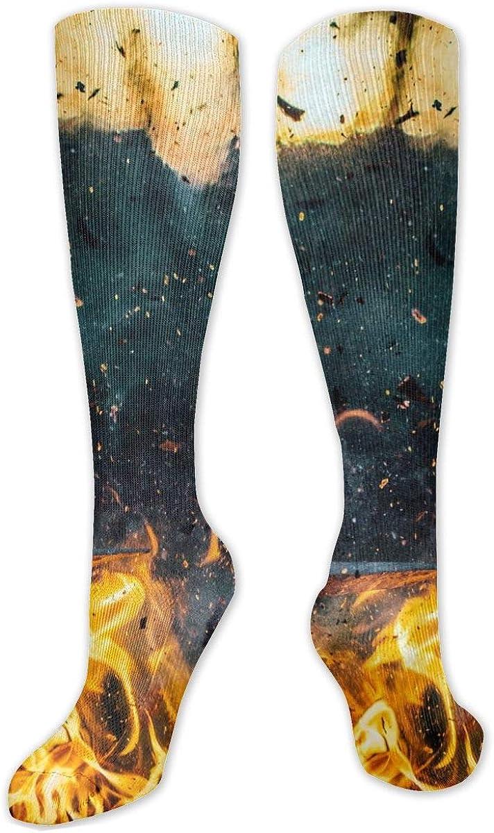 Fire Art Knee High Socks Leg Warmer Dresses Long Boot Stockings For Womens Cosplay Daily Wear