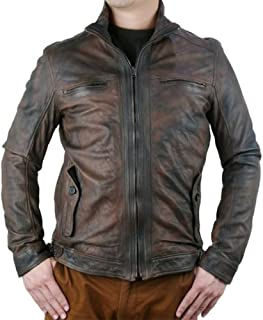 DDMILANO Men's Italian Prime Lambskin Leather Biker Jacket